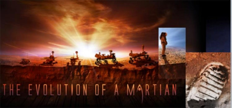 "Graphic Displaying text ""Evolution of a Martian, showing several robots of increases sizes from left to right and a human astronaut to the far right."