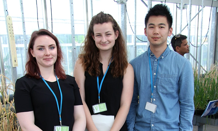 IAEA and Arms Control Section Interns Visiting the Plant Breeding Lab (from left to right – Elizabeth Philipps, Maria Dudenhoeffer, Zachary Wong)