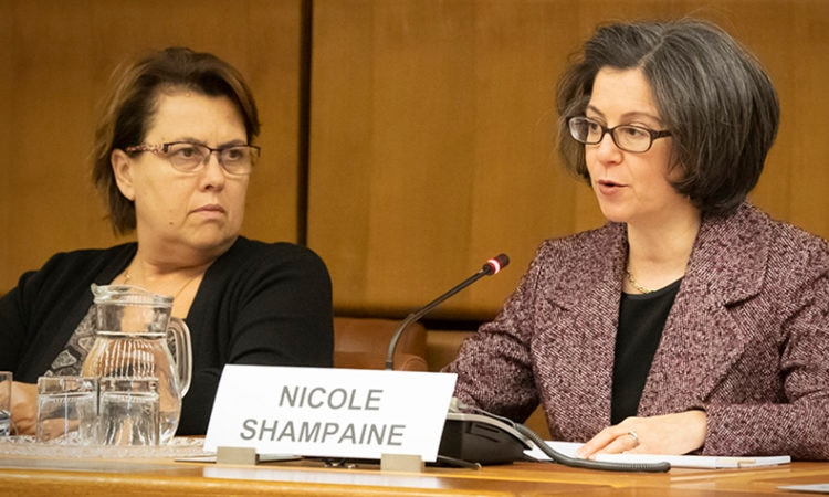 USUNVIE Deputy Chief of Mission Nicole Shampaine delivering remarks on International Day for Women and Girls in Science at a UNCOPUOS Scientific and Technical Subcommittee side event, Vienna International Center, February 11, 2019. (USUNVIE/Colin Peters)
