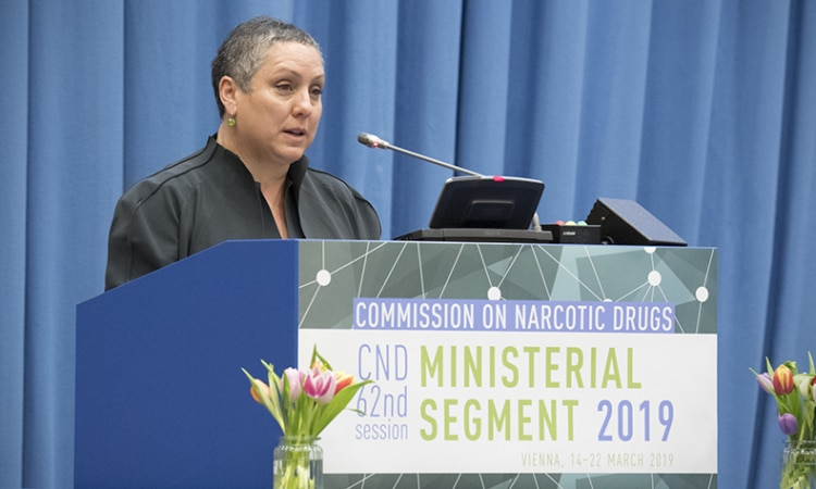 Assistant Secretary Kirsten D. Madison of the International Bureau for Narcotics and Law Enforcement delivering the U.S. national statement at the Minister-level segment of the 2019 UN Commission on Narcotic Drugs, Vienna, Austria, March 14, 2019. (USUNVIE)