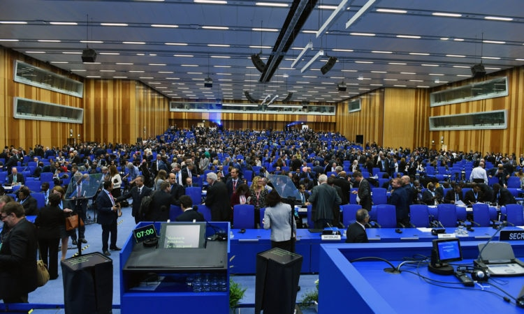 A very large conference room hosting the IAEA General Conference. Photo: Dean Calma/IAEA