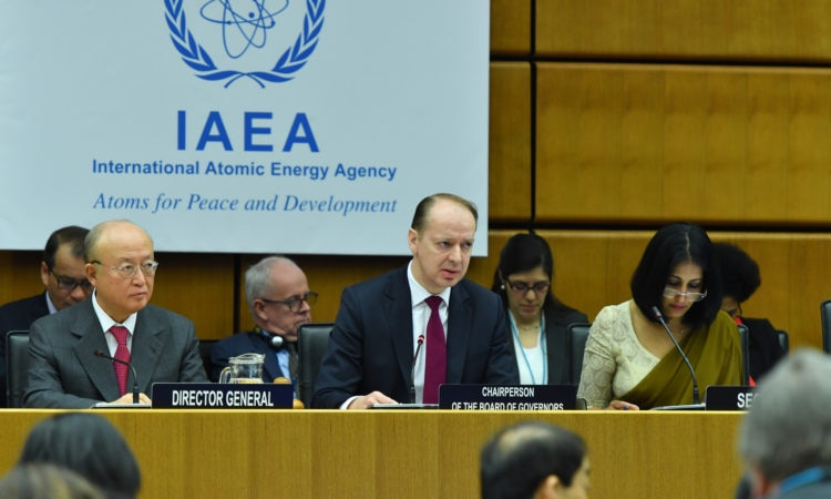 A view of the Boad Chair and IAEA Director General